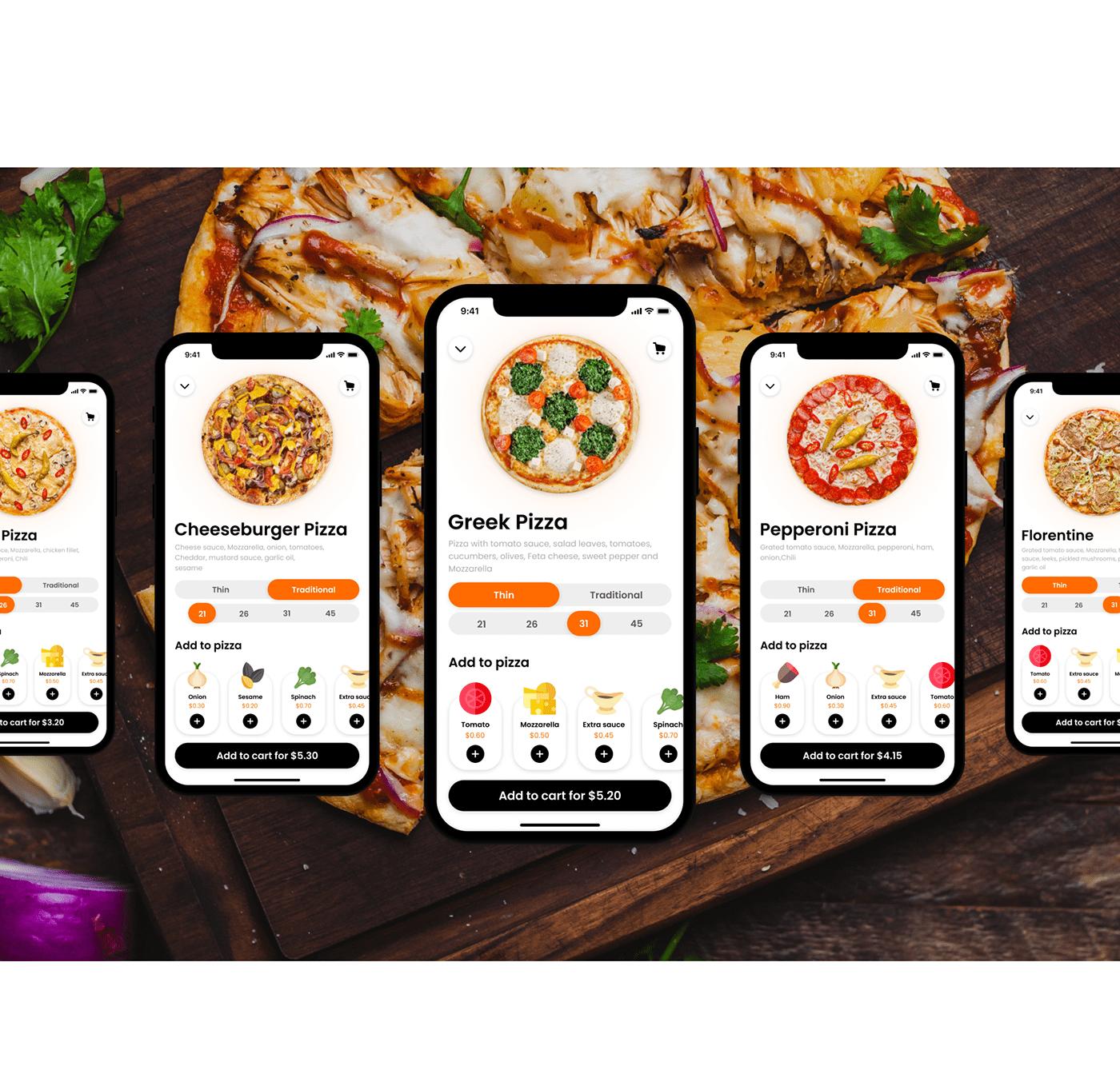 Food  Mobile app Pizza pizza tempo restaurants app design iOS App pizza app food app uiux