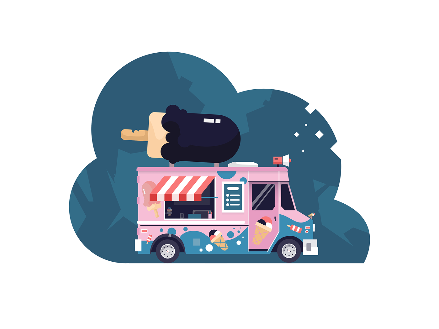 art colors Drawing  ILLUSTRATION  simple Truck vector Web