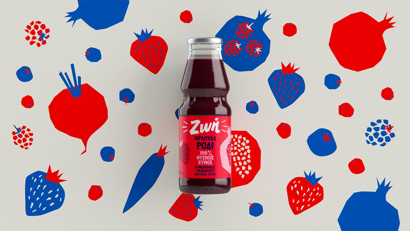 zoe juices fruits beetroot design branding  graphics ILLUSTRATION  typography   custom typeface
