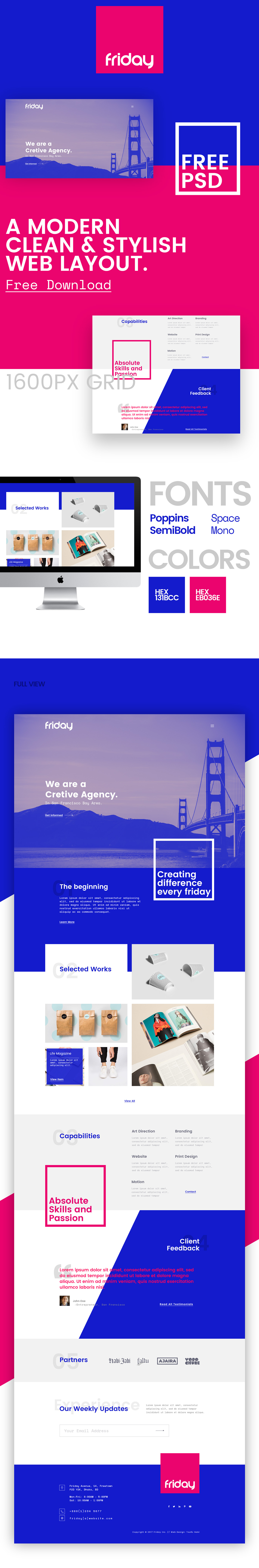 web layout free freebie psd moden clean stylish blue Catchy different