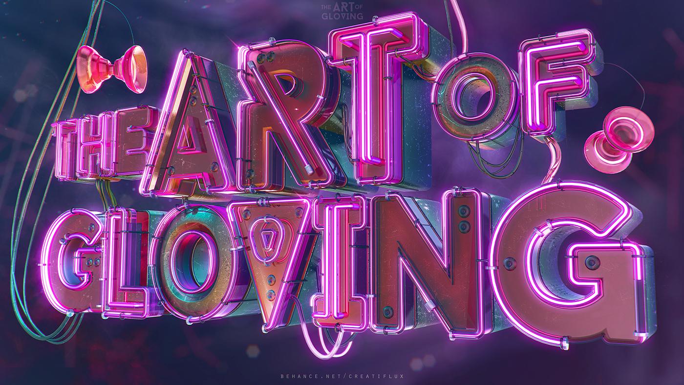 typography   3D Digital Art  illustrations