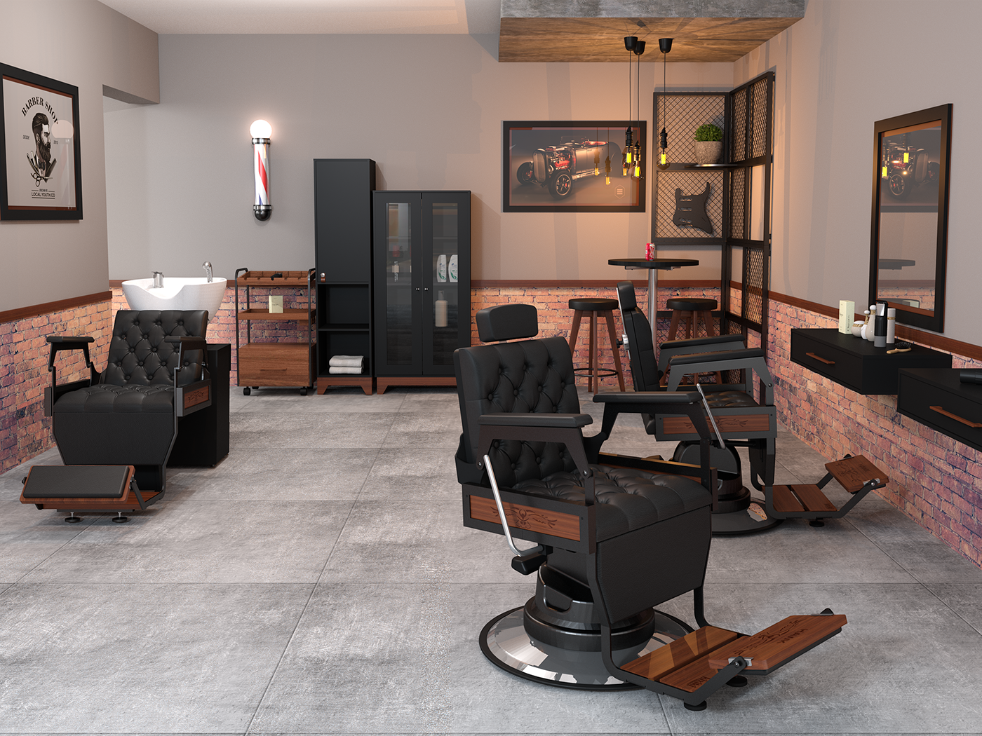 barber shop design interior CGI Brasil