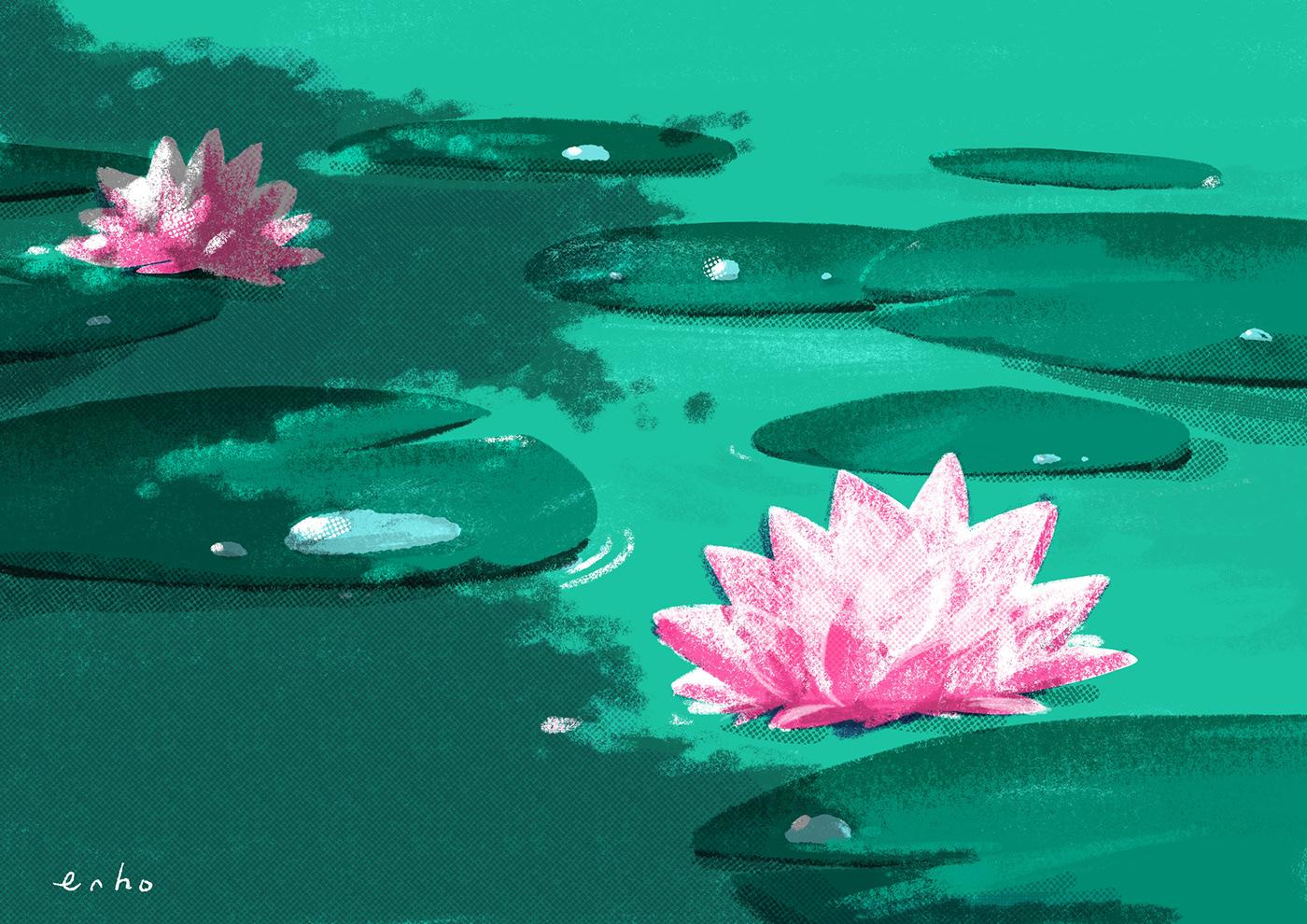 ILLUSTRATION  Drawing  Landscape lake