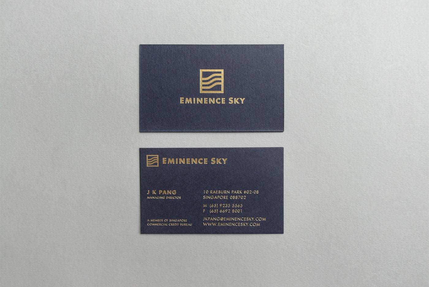 brand identity logo design eminence sky foil business card singapore