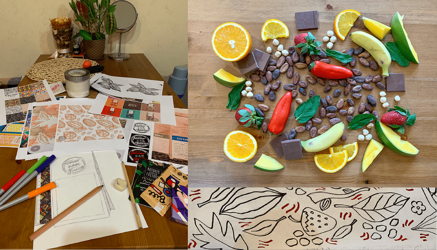 The process of creation of package design. We decided to focus on the patterns.
