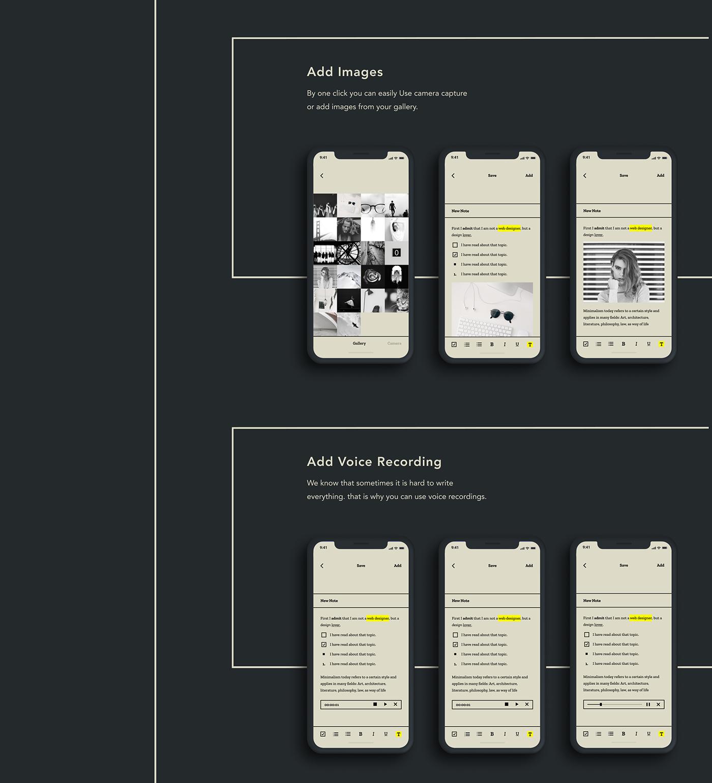 minimal simple Figma ux Mobile UI note UI note taking app zen