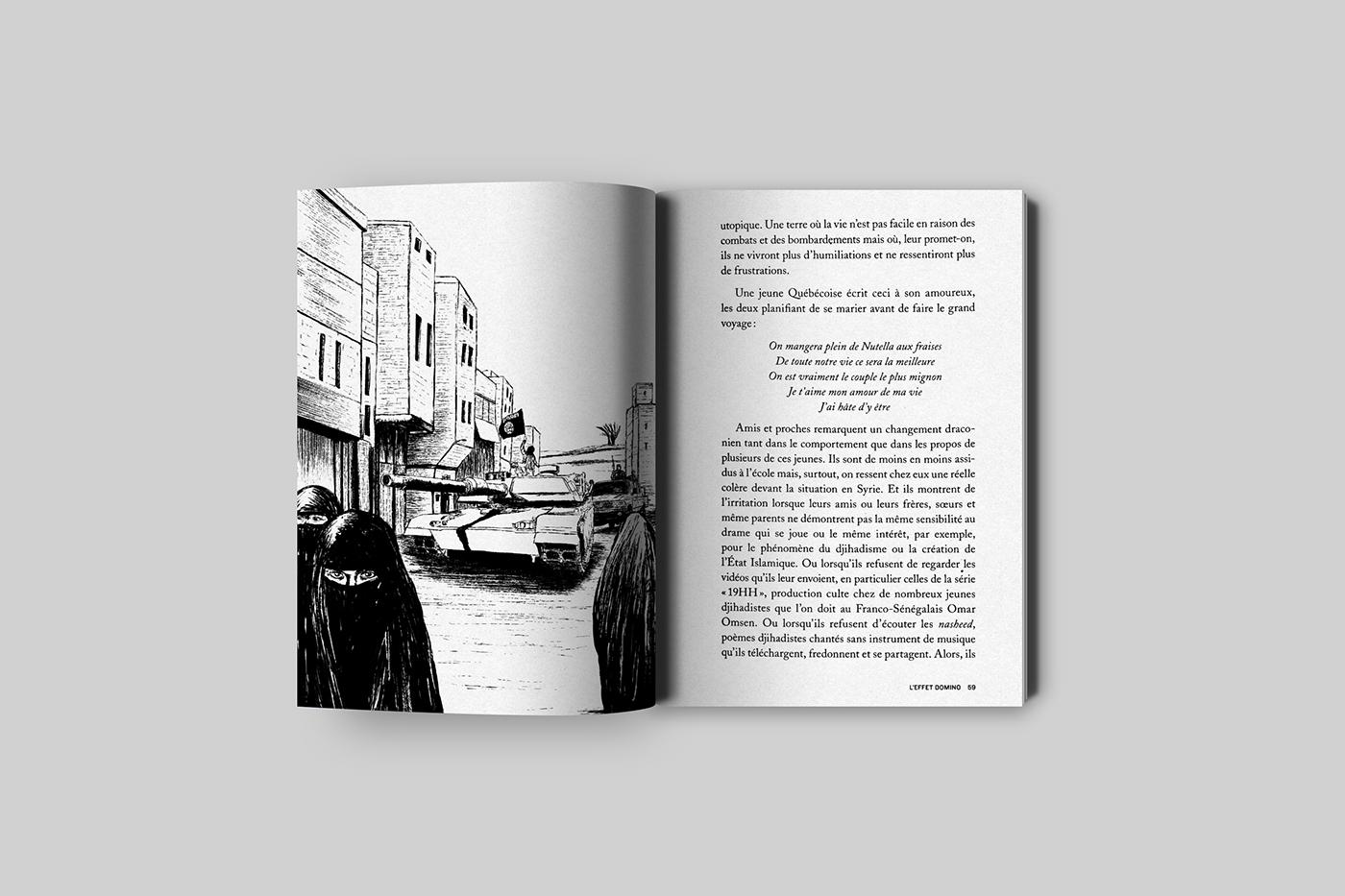 ILLUSTRATION  blackandwhite novel Terrorism teenager Syria blackink ink