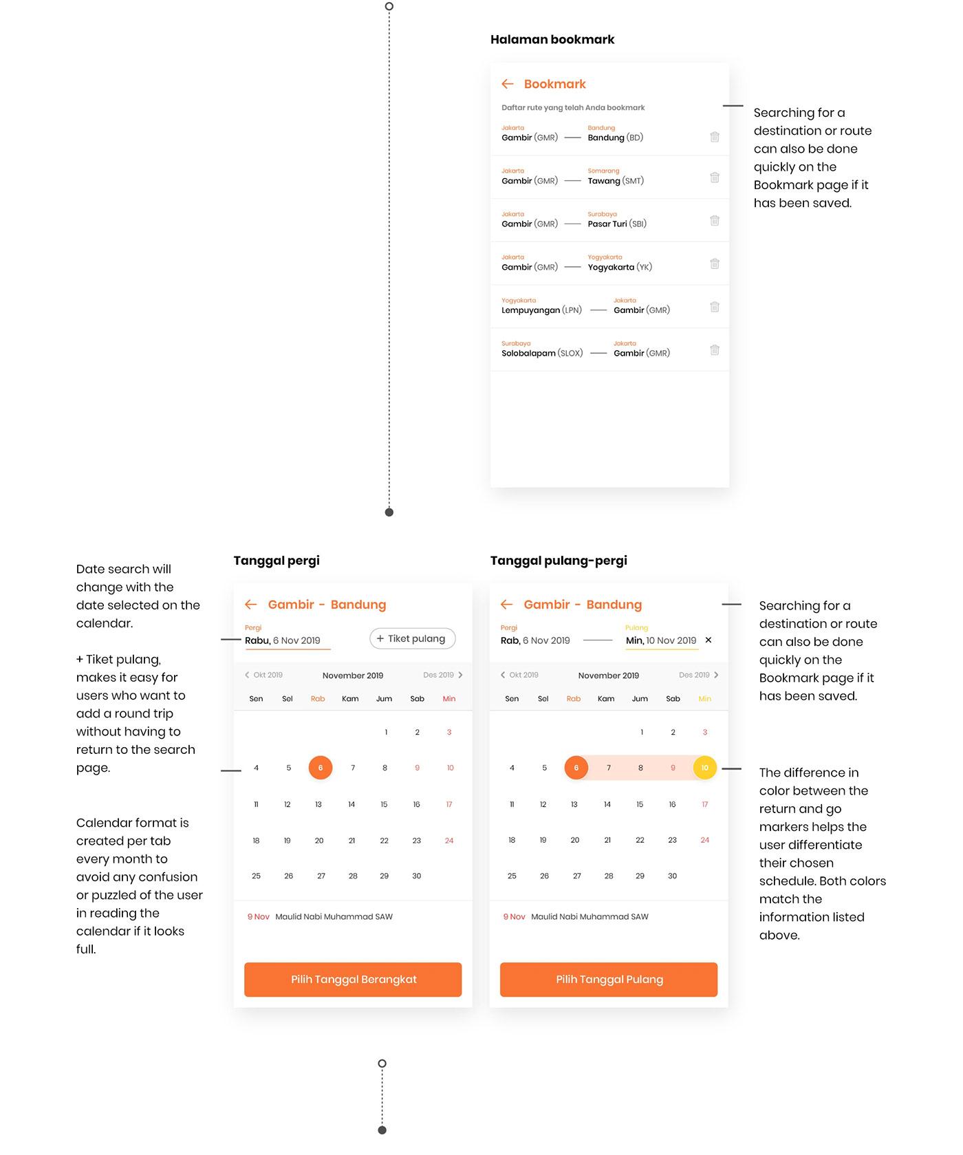 app Booking ideation interaction orange schedule train UI/UX user experience design