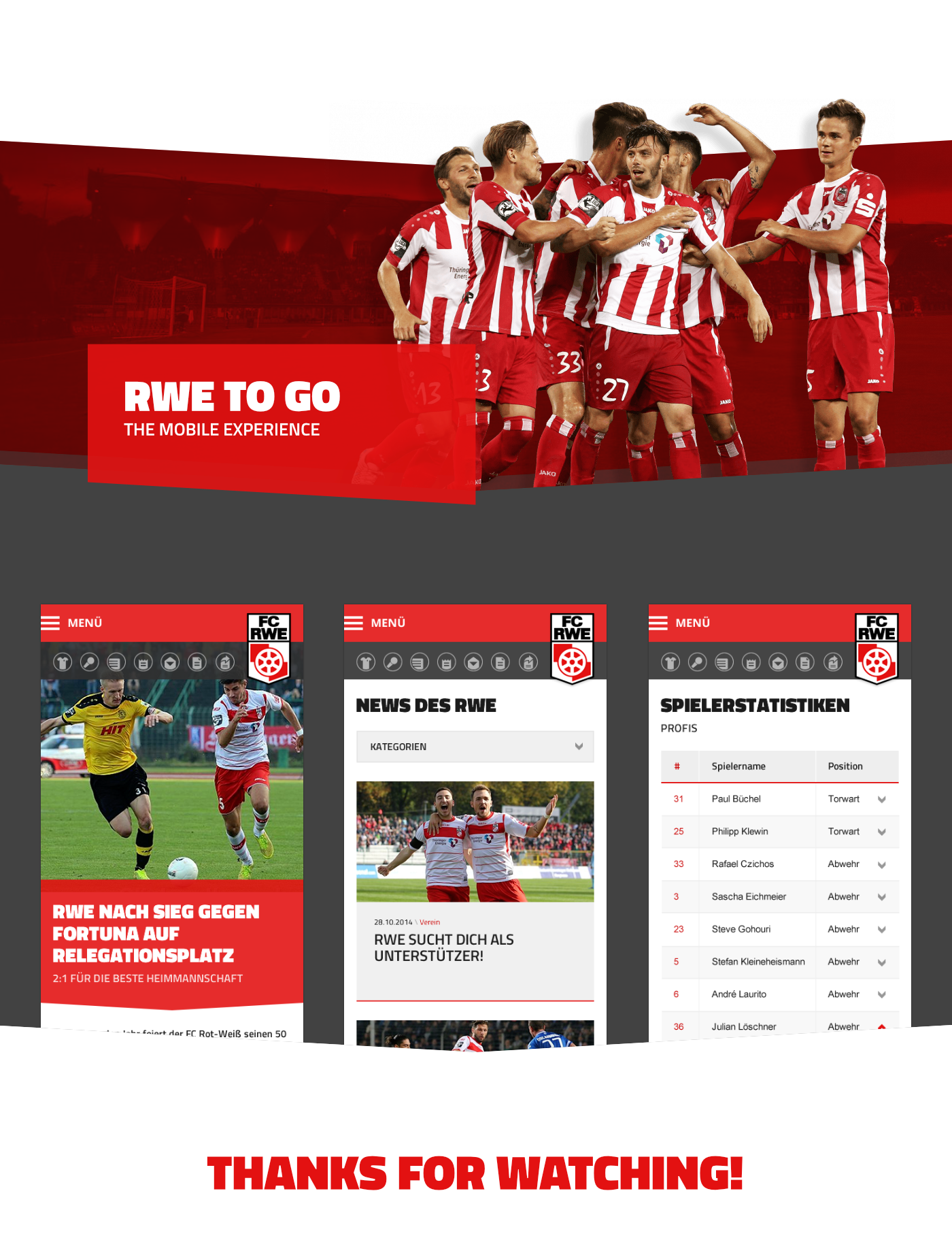 football soccer team sport web portal german germany football club mobile Responsive Live Ticker RED AND WHITE