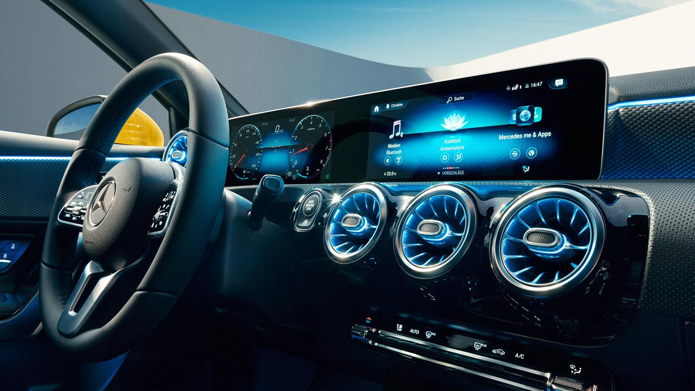 automotive   minimal White blue SKY curve car CGI light architecture