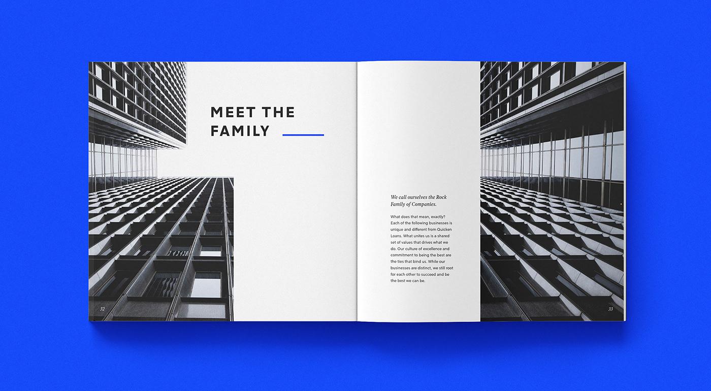 editorial magazine book modern clean blue elegant simple geometric boxes