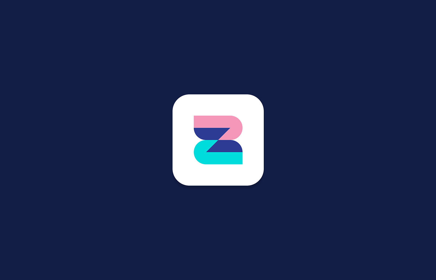 mobile app icon on bark navy screen, z letter icon on white background
