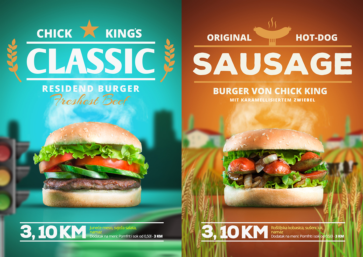 burger campaign hamburger poster chilly chicken meat BUNN Chick king Cheese Bosnia fast-food Junk-food grill