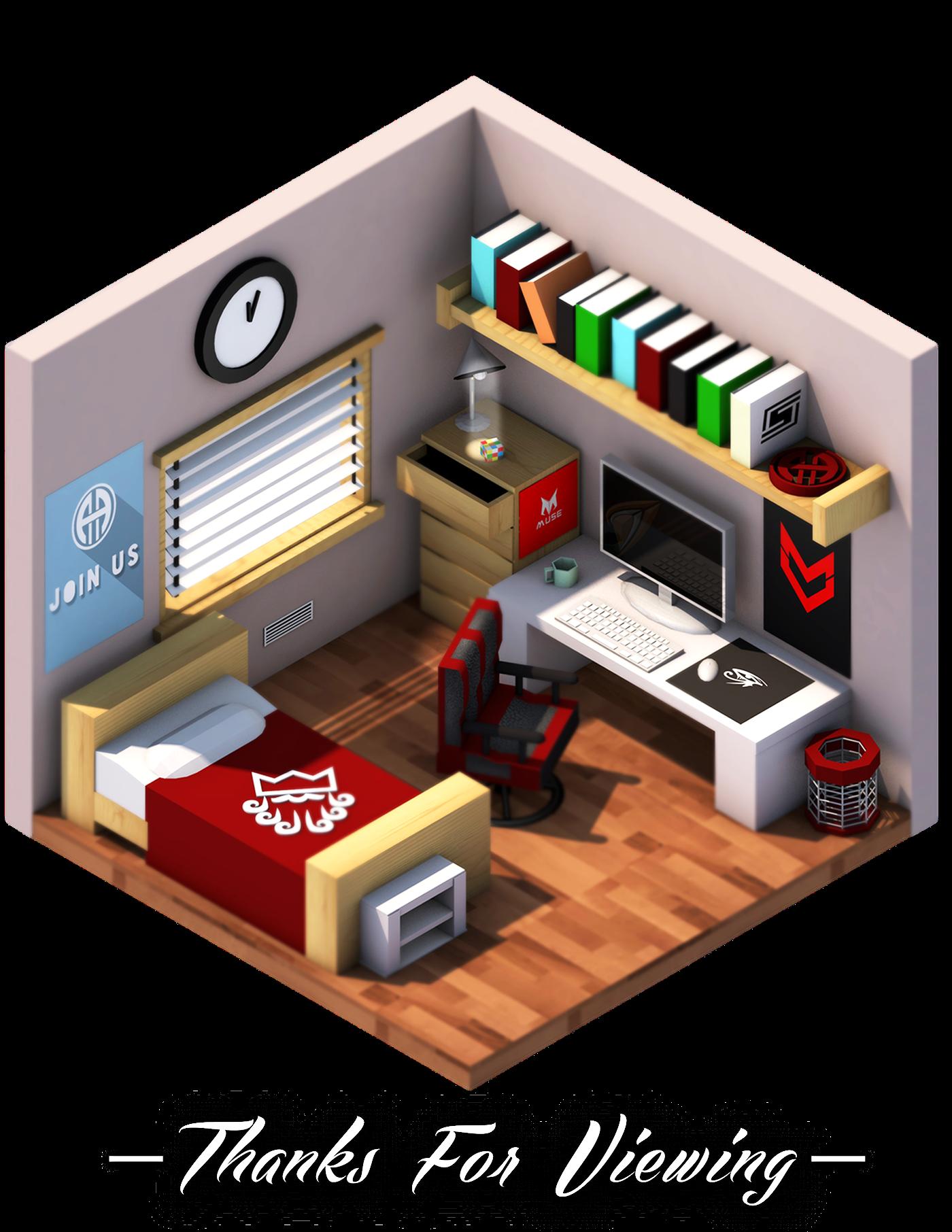 Isometric Bedroom A Designers Room On Behance