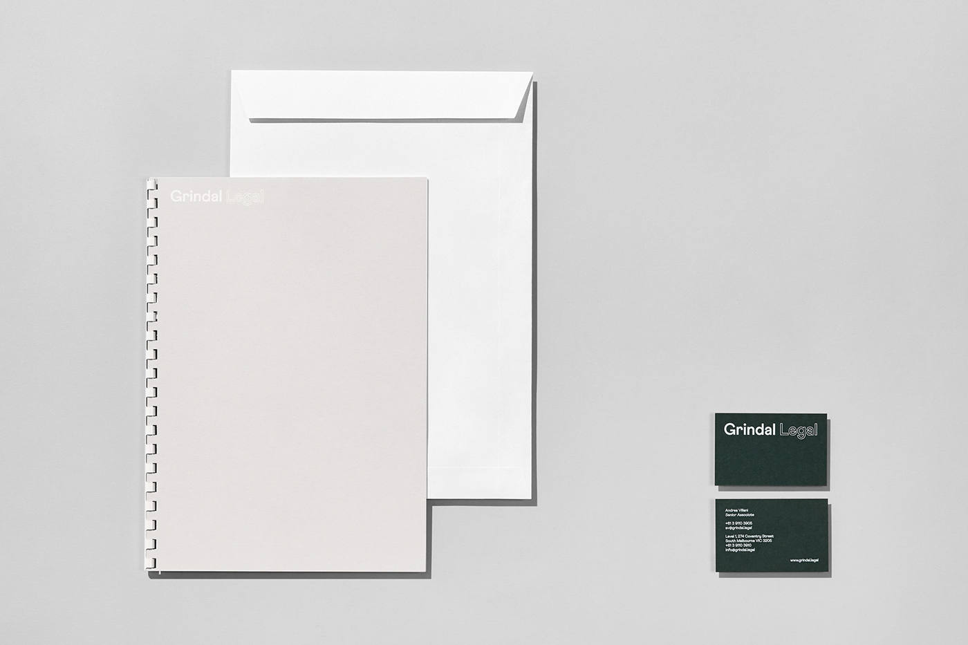 business card letterhead notepad envelope lawyer legal Racing Green colorplan consistent confident