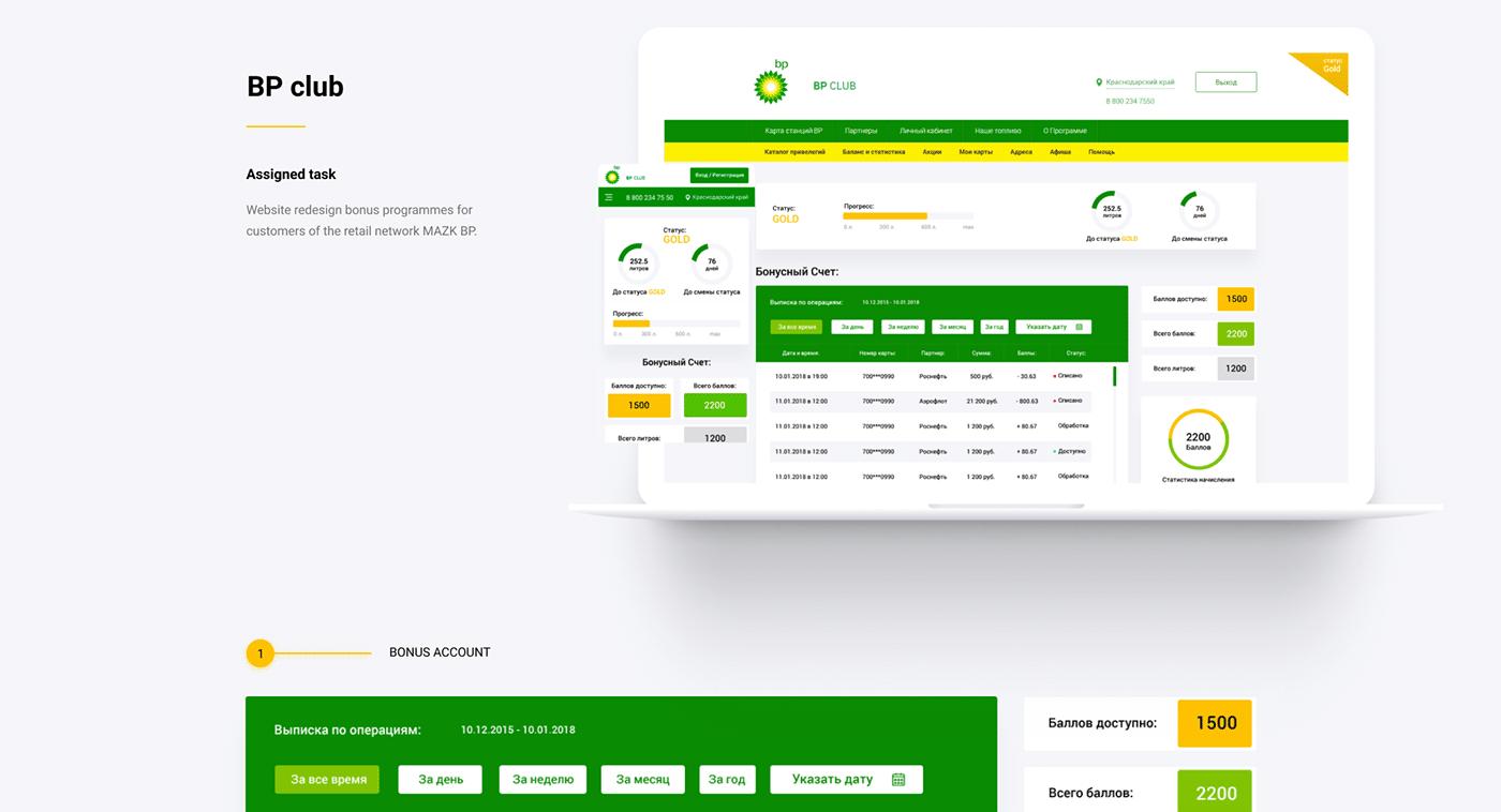 АЗС BP-club fuel gazoline заправка Webdesign ux UI Web Ecommerce