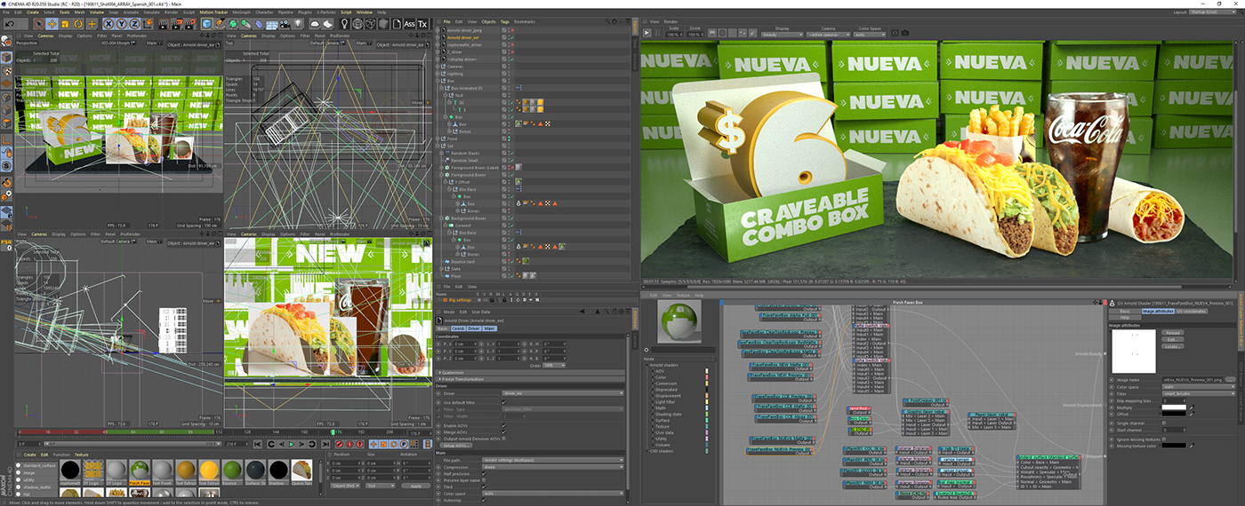 Del Taco cinema 4d CGI boxes arnold compositing commercial Camp + King 3D