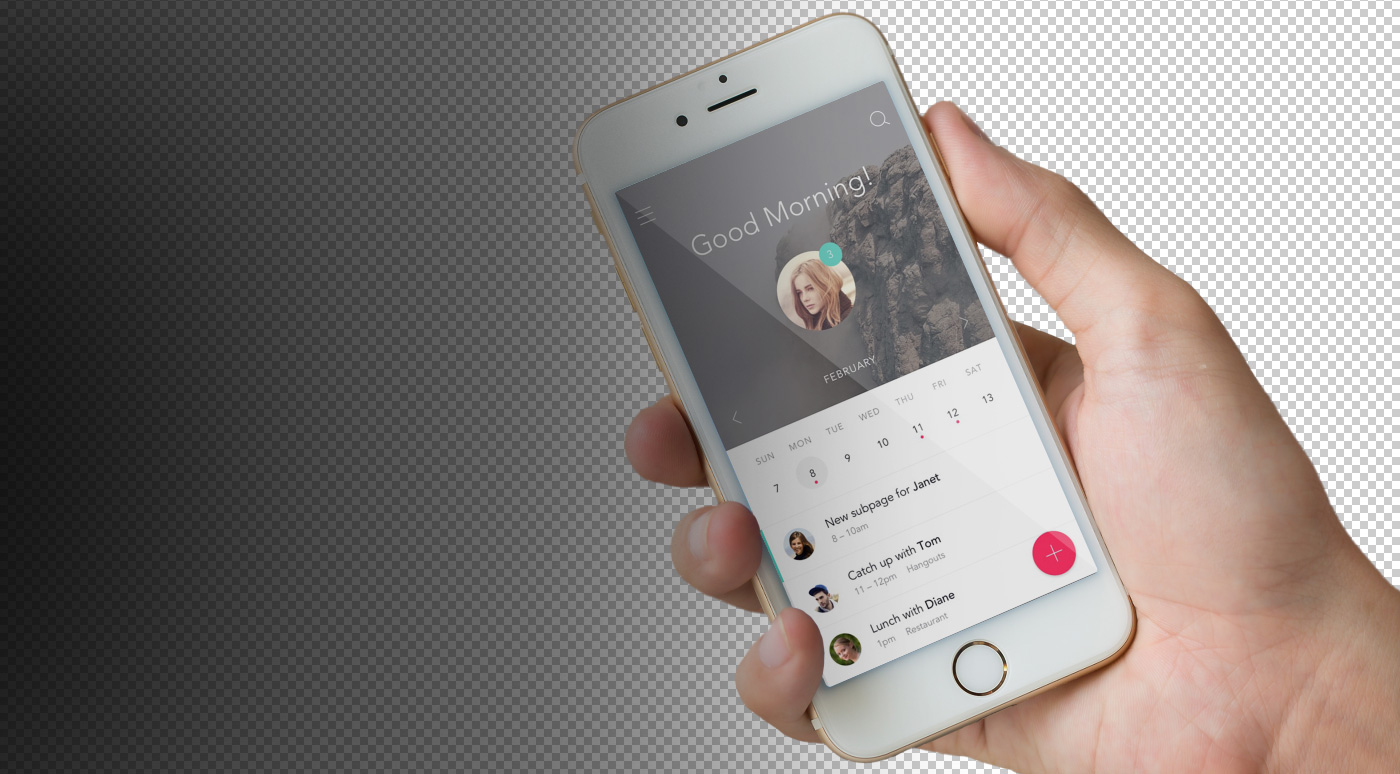 Mockup mock up transparent iphone ios with hand phone psd