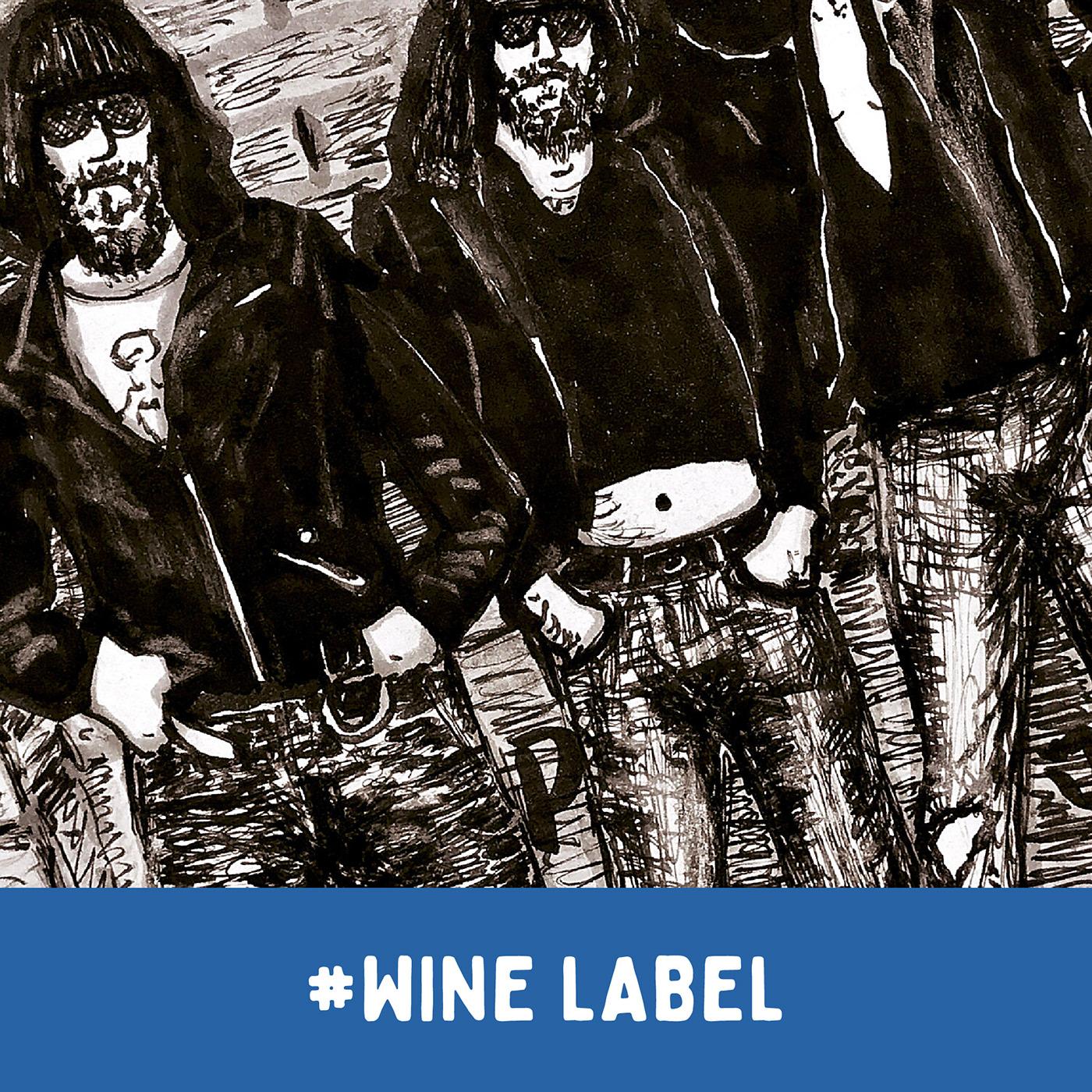 Product label / wine drawn label / MAMONES - RAMONES