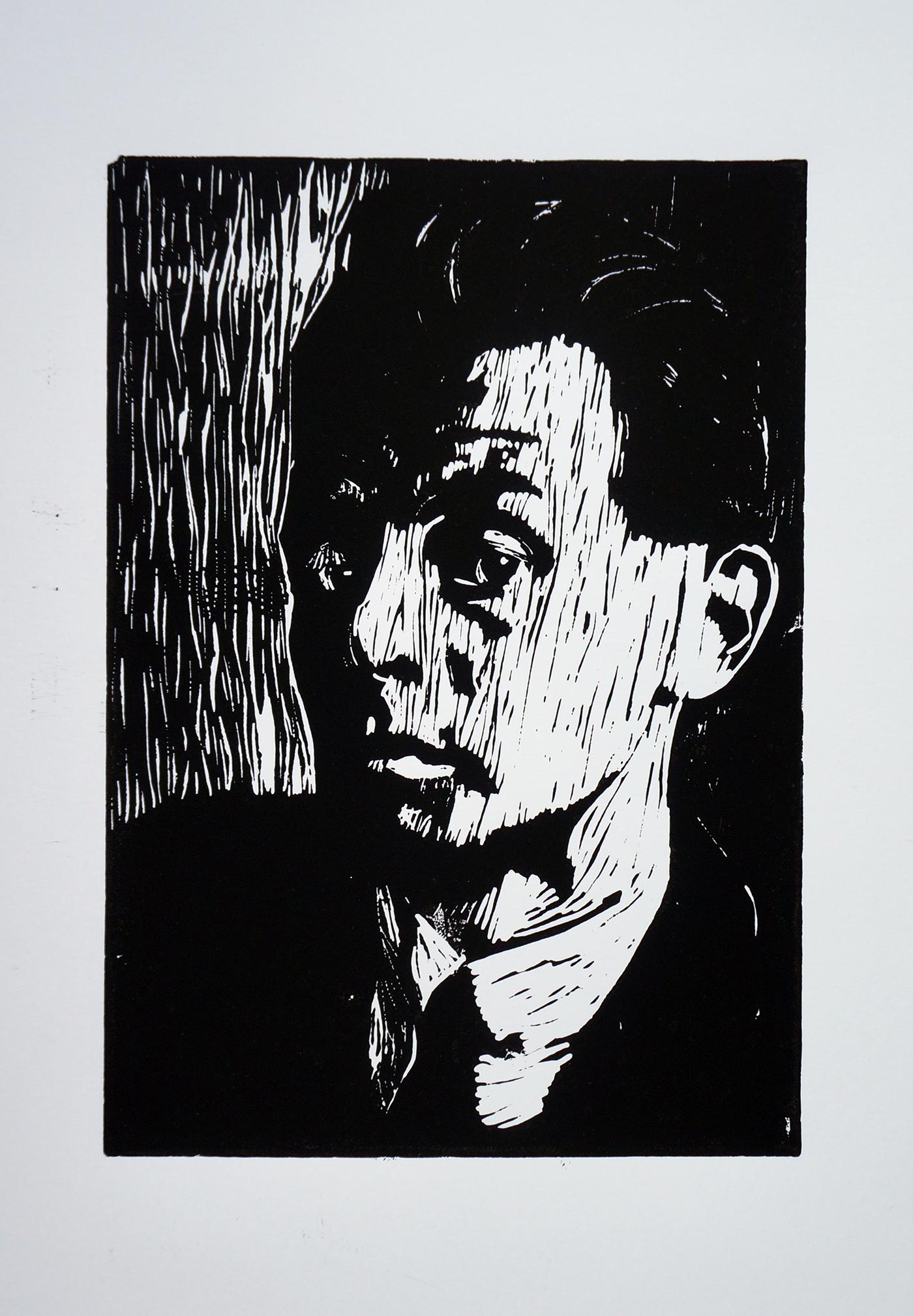 linocut Black&white portrait print schiele