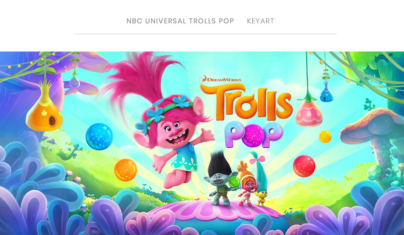 video game mobile game Gaming photoshop keyart Trolls movie illlustration app store 3D