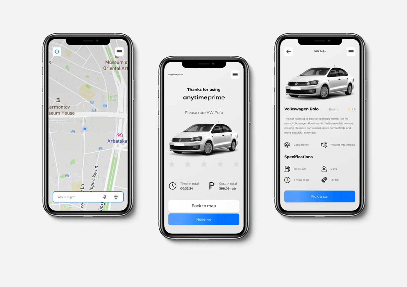 car Carsharing carsharing app concept design Mobile app mobile app design UI ux Web Design