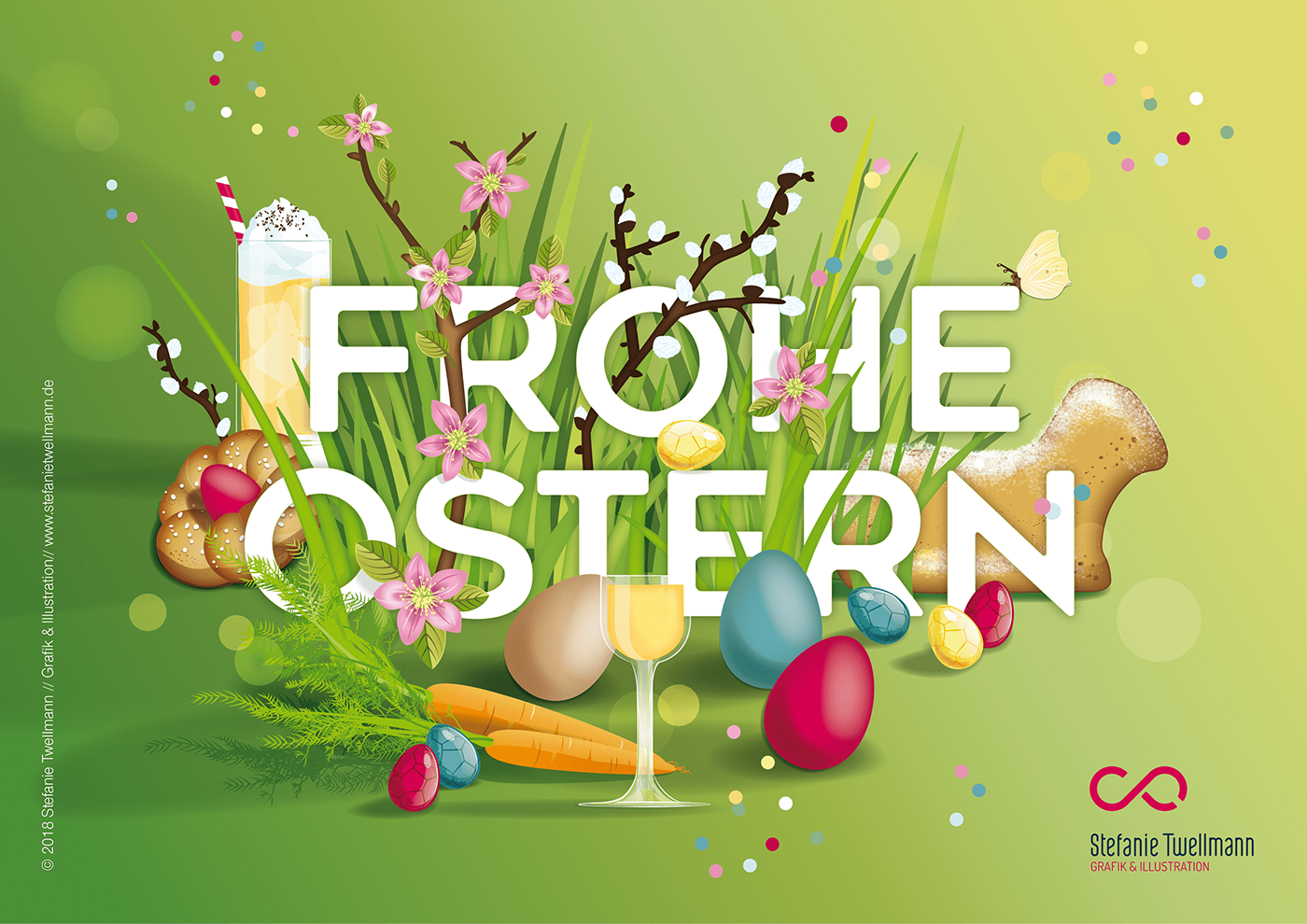 Easter ILLUSTRATION  green gras eggs colourfull springtime Sweets chocolate