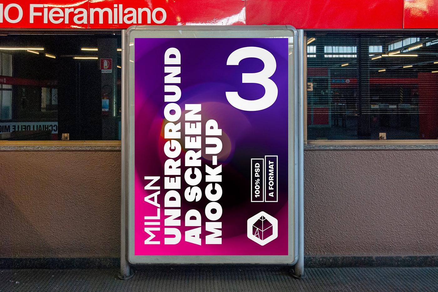 ad Advertising  metro milan mock-up Mockup poster screen STATION underground