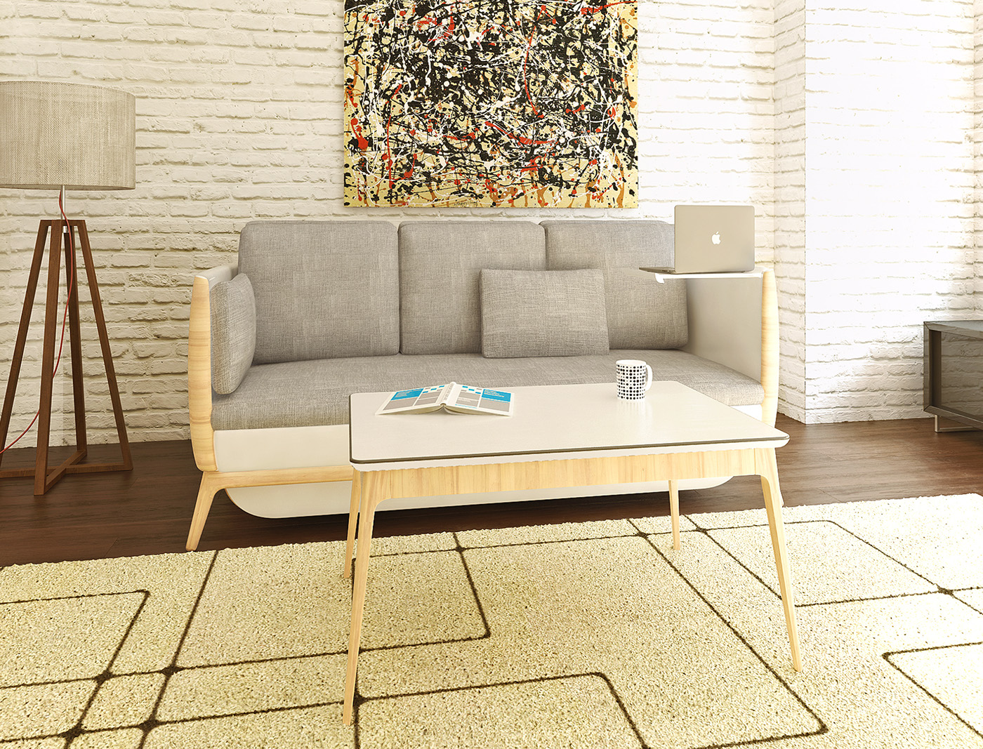 sofa Couch bed transformable stools table wooden contemporary multifunctional A Design Award
