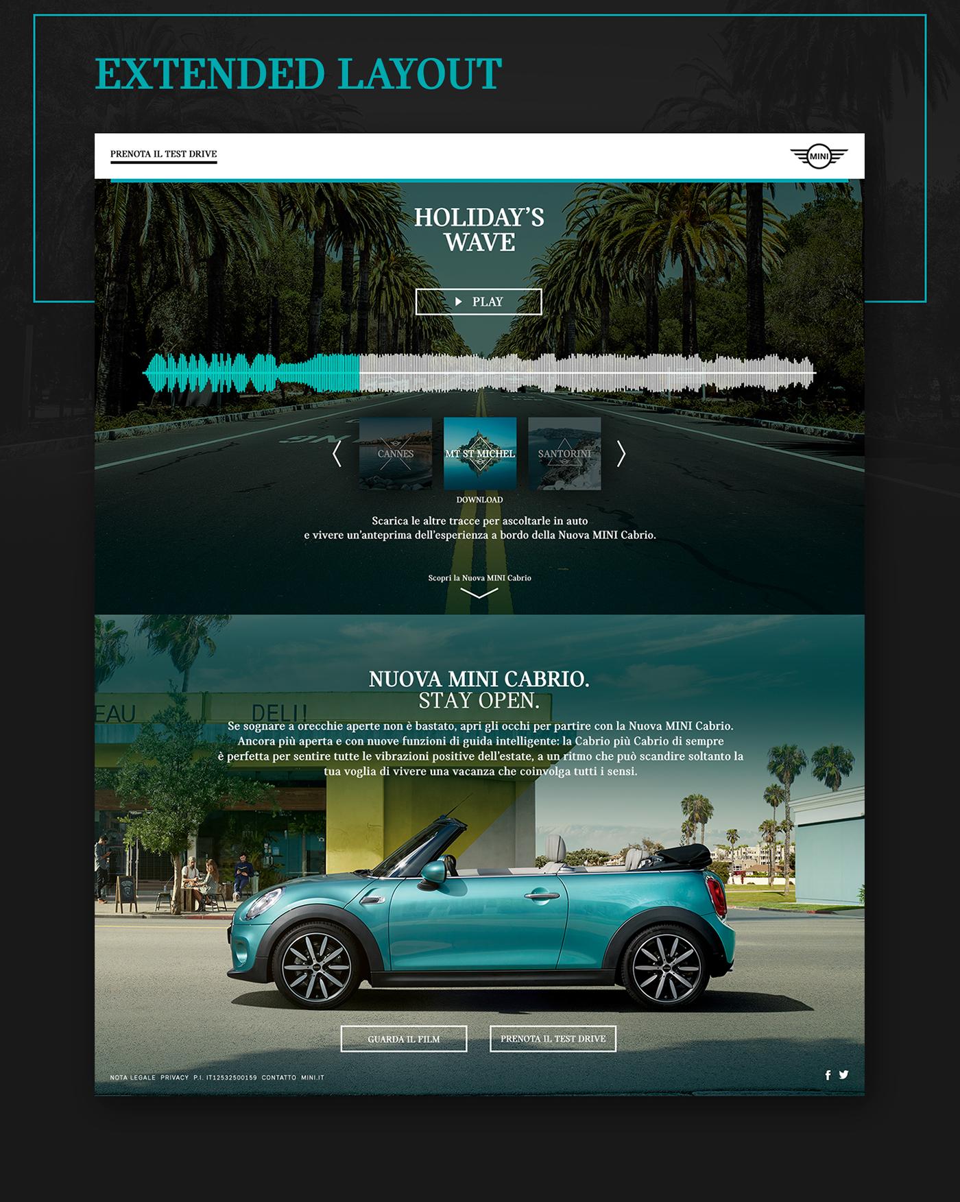 MINI mini cabrio Cabrio automotive   BMW MINI Cooper landing page Responsive Mockup summer dem convertible BMW group