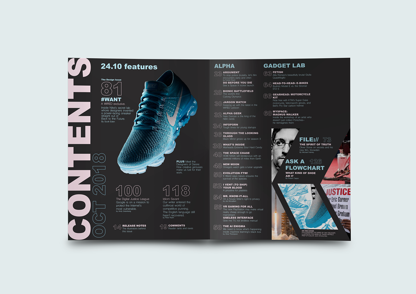 WIRED Magazine Table of Contents 24.10 Redesign on Behance