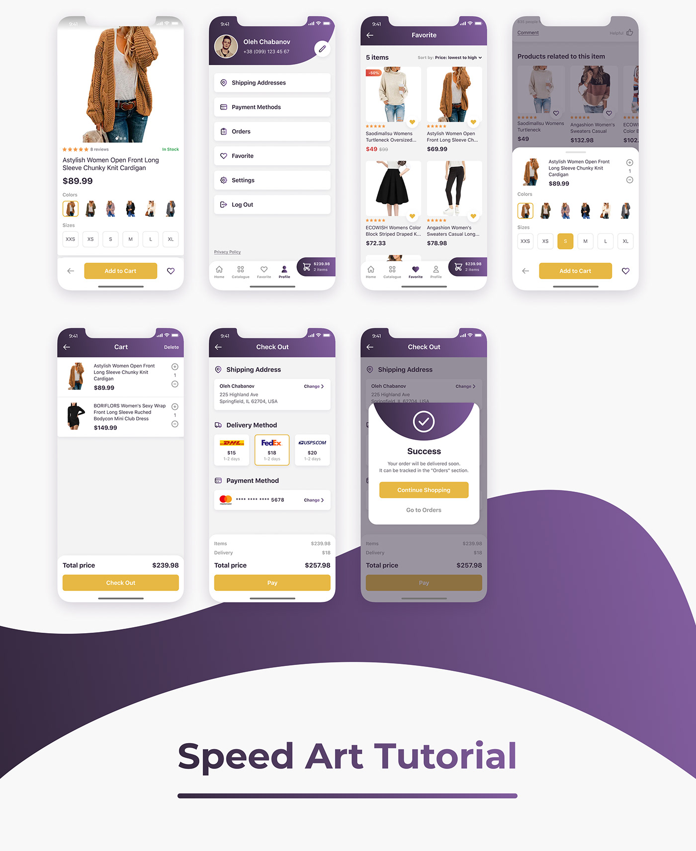 Mobile App, UI, UX, Screens, Store, Shop, E-commerce, Flow,  iPhone, Android