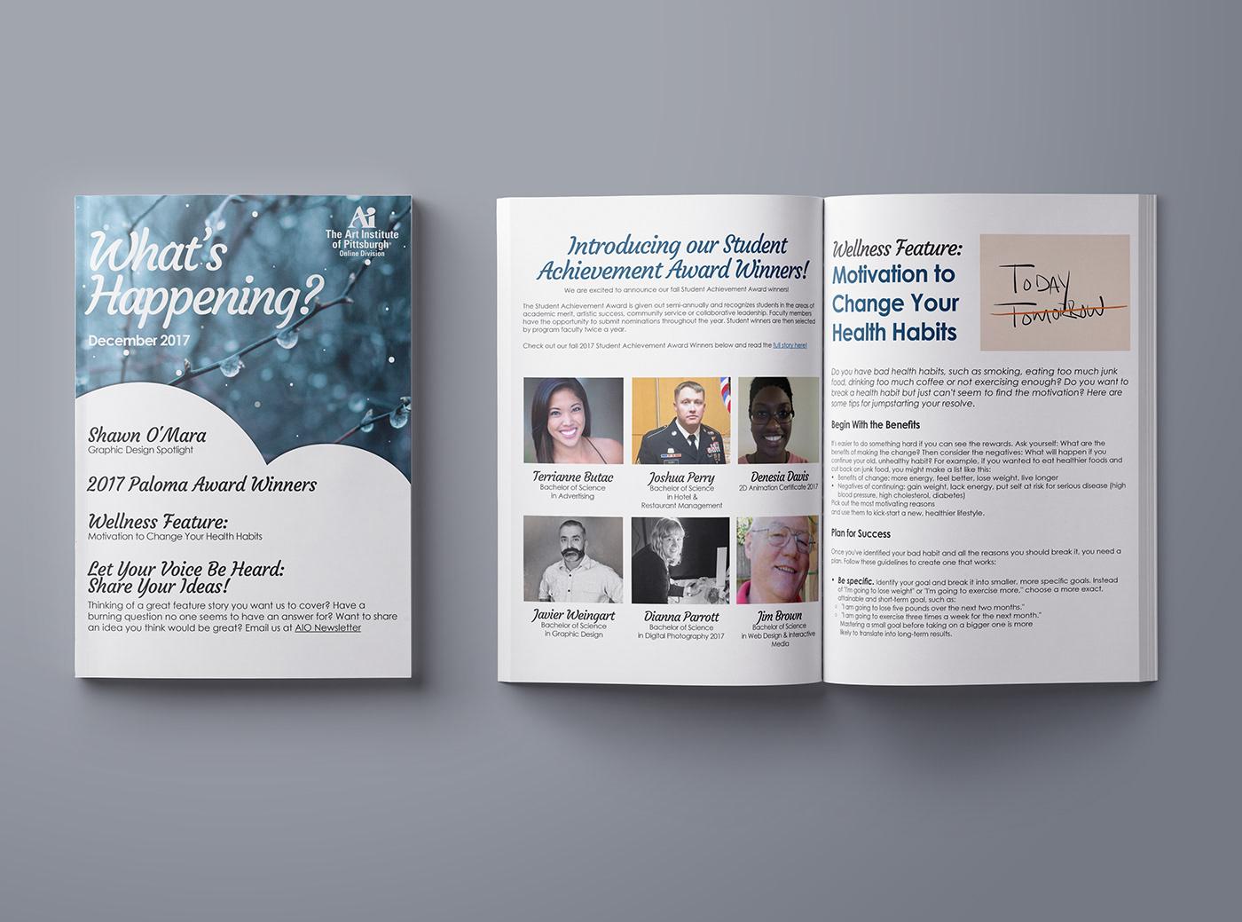 Art Institute Of Pittsburgh Online >> Art Institute Of Pittsburgh Online Newsletter Design On Behance