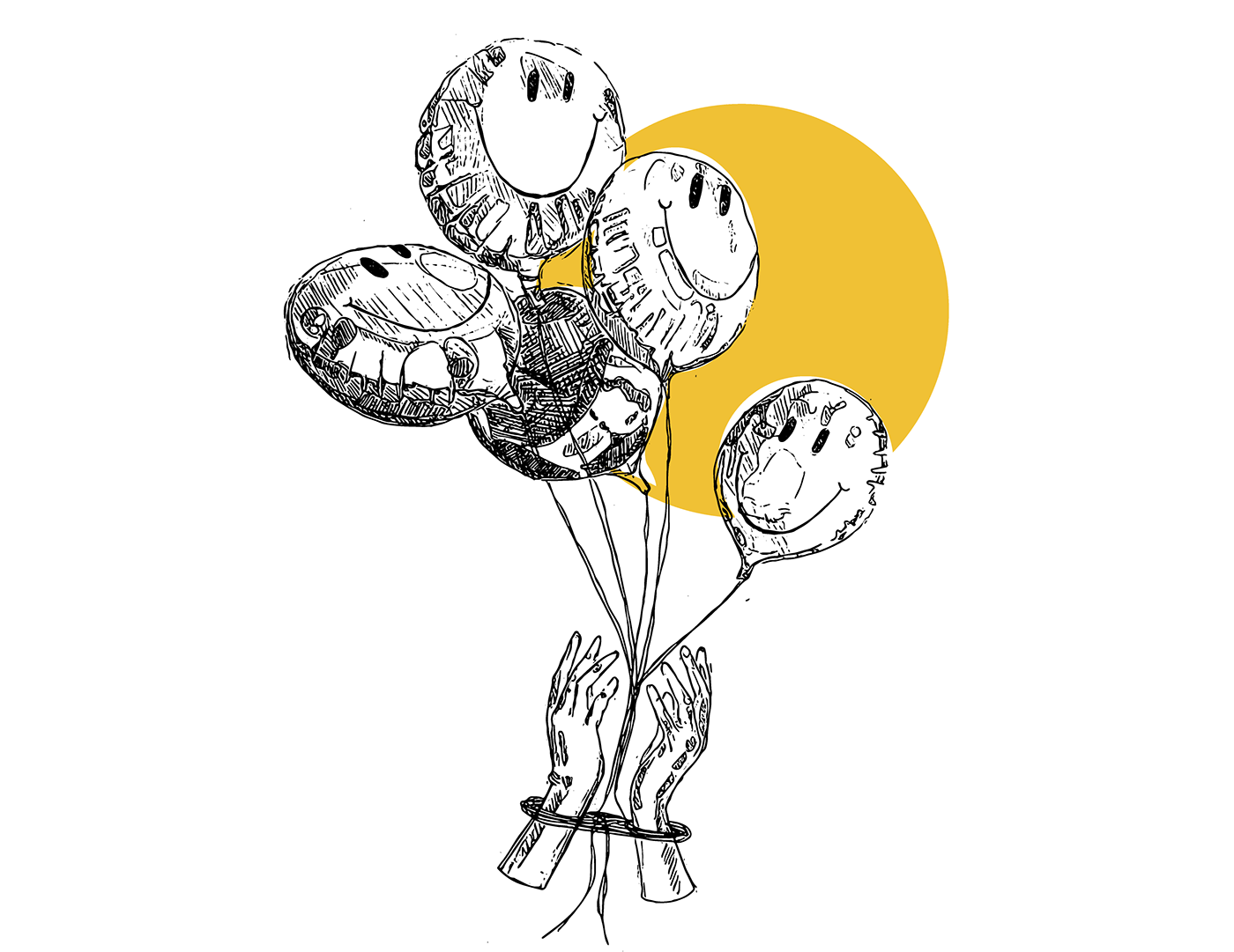 Hands being carried away by smiley face balloons