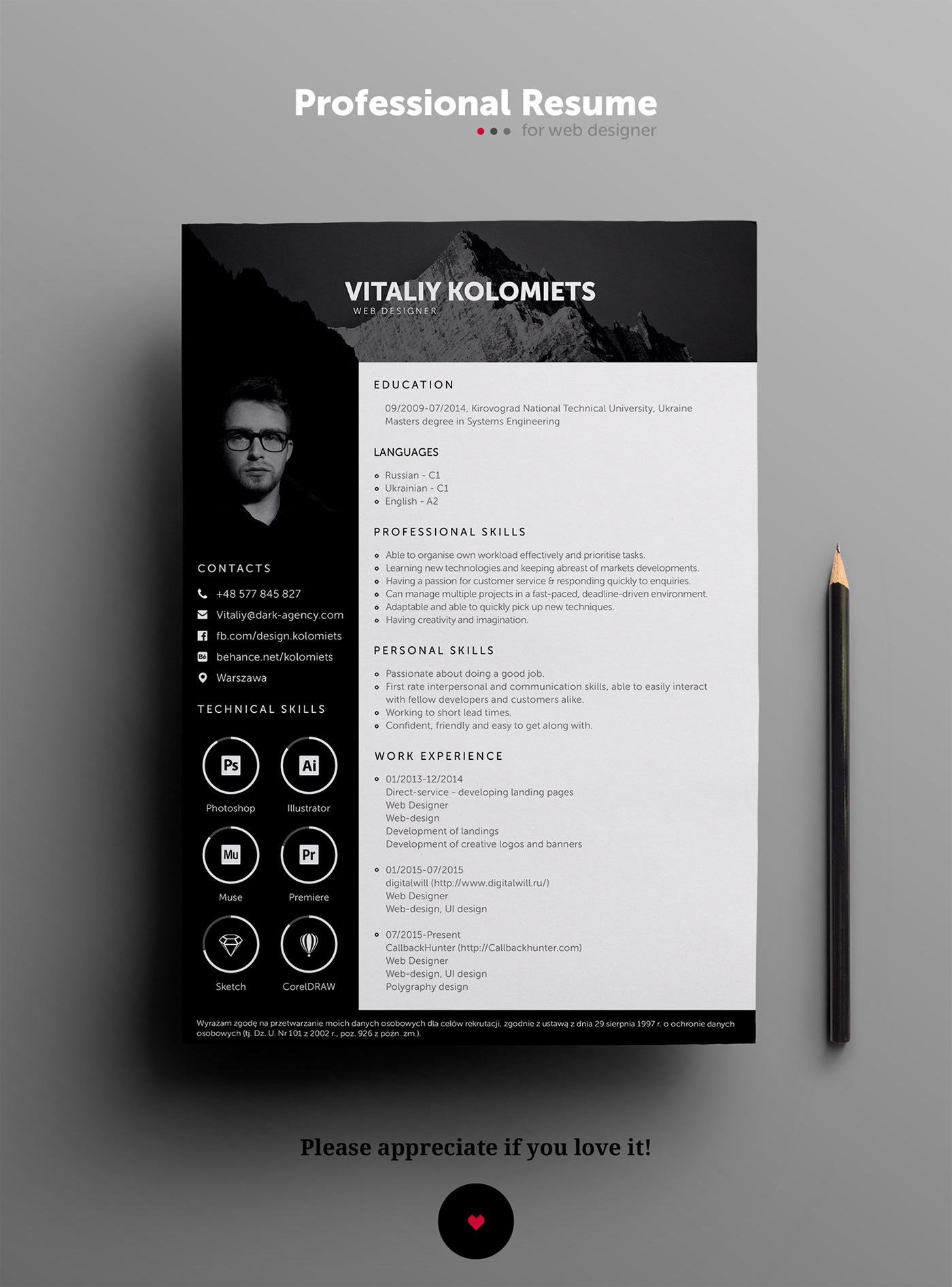 Creative Resume free free cv resume free PSD CV Free Resume template Modern Resume PROFESSIONAL RESUME professional template psd template