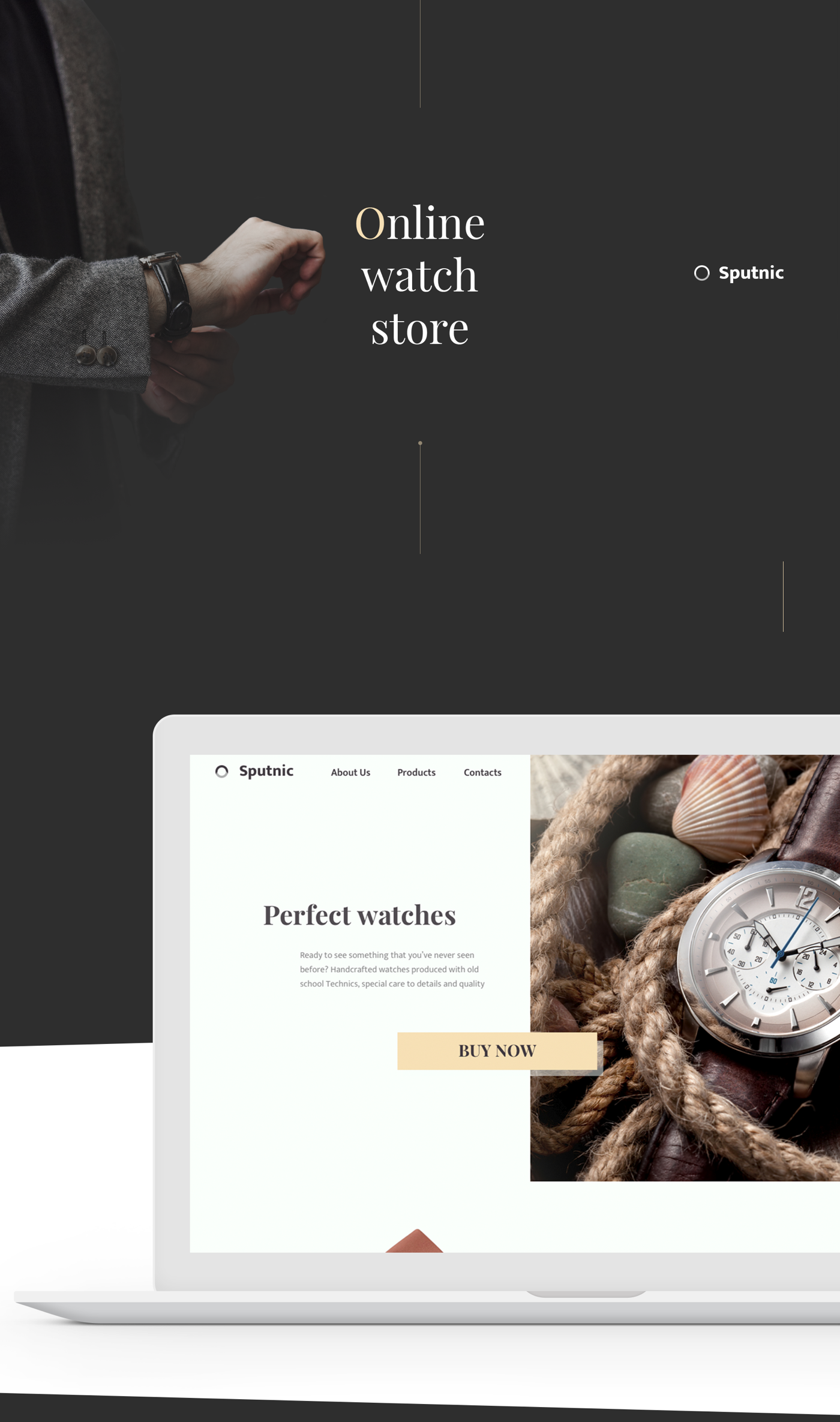 e-commerce Web watch shop store online flat minimal luxury typography