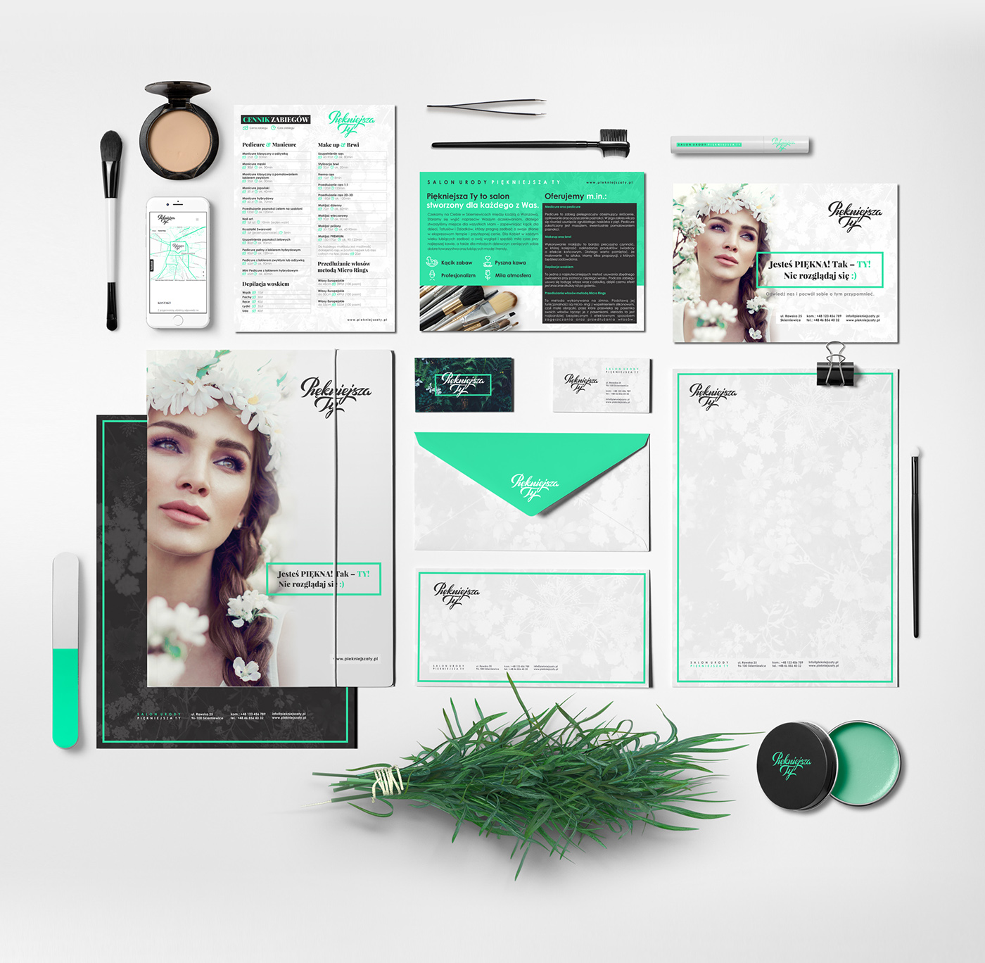 beauty cosmetics logo corporateidentity branding  Spa green natural makeup agenza