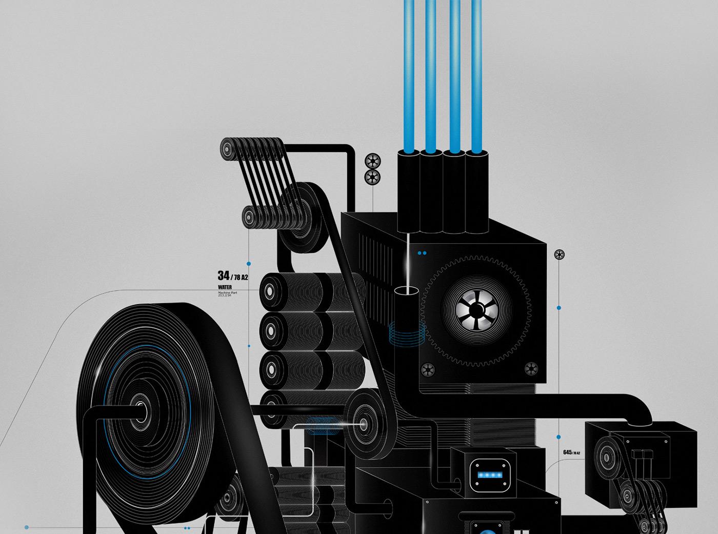 machine techincal dark future construction