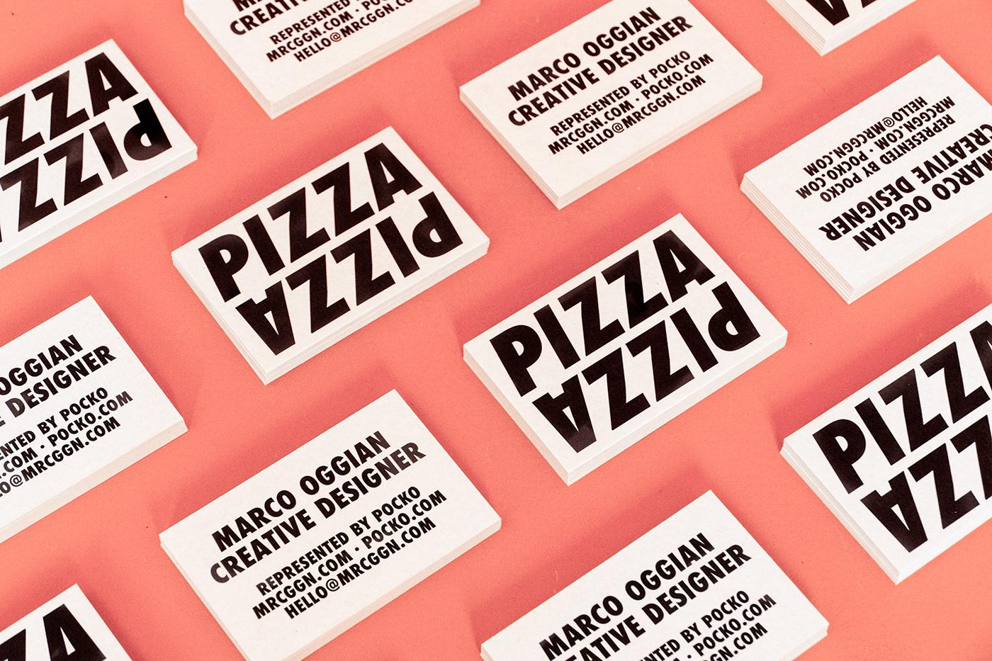 Pizza branding  business card logo rebranding minimal Futura Strong message Italian food Food
