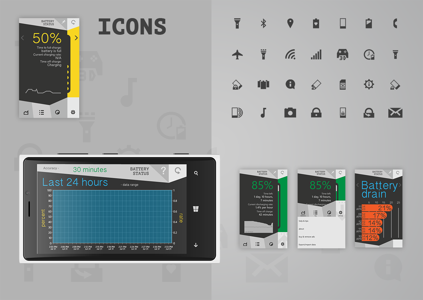 battery status battery status app mobile charge ux UI application Icon