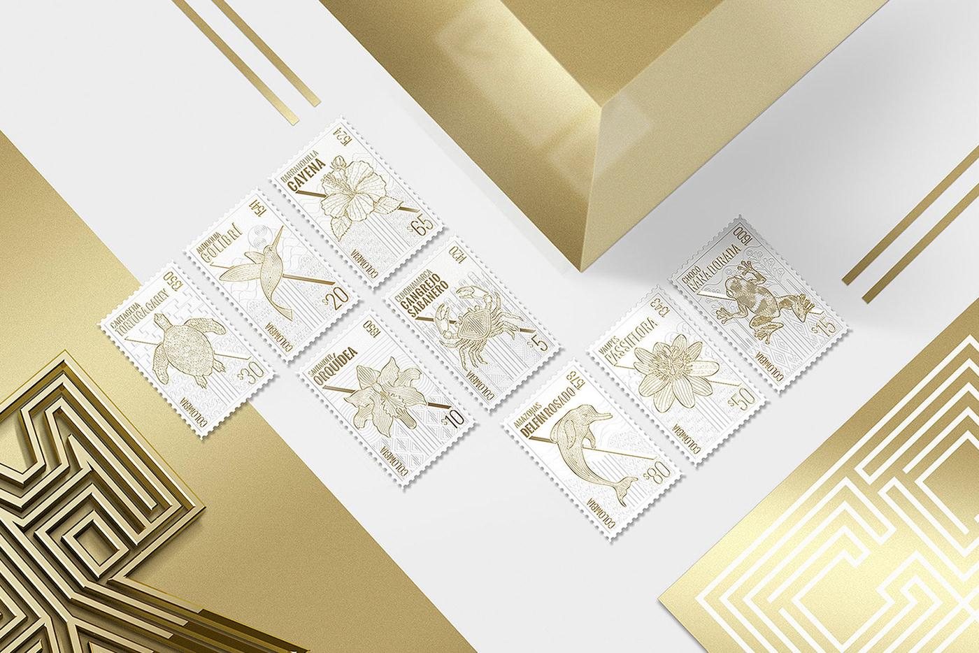estampilla colombia animals stamp fauna Flora identity gold david espinosa