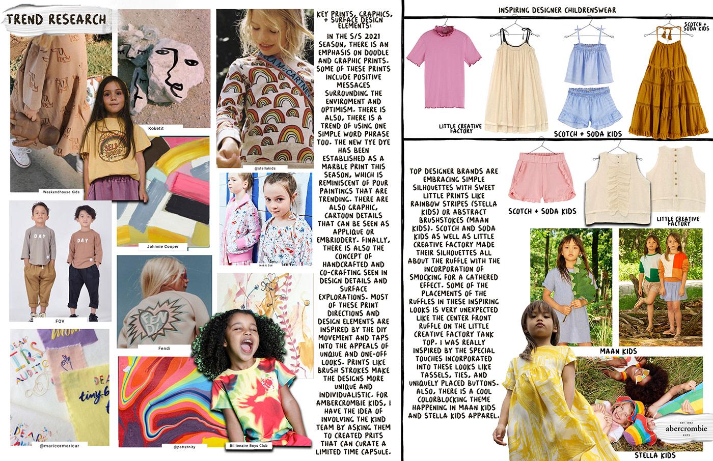 A&F abercrombiekids color story concept board customer profile design process fashion design fashion illustration technical flats trend research