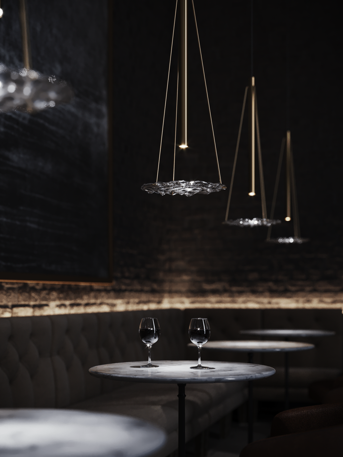 brass lamp with glass in interior