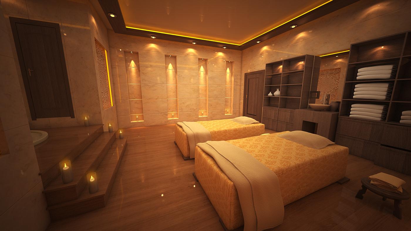 3d massage room on behance for Massage room interior design ideas