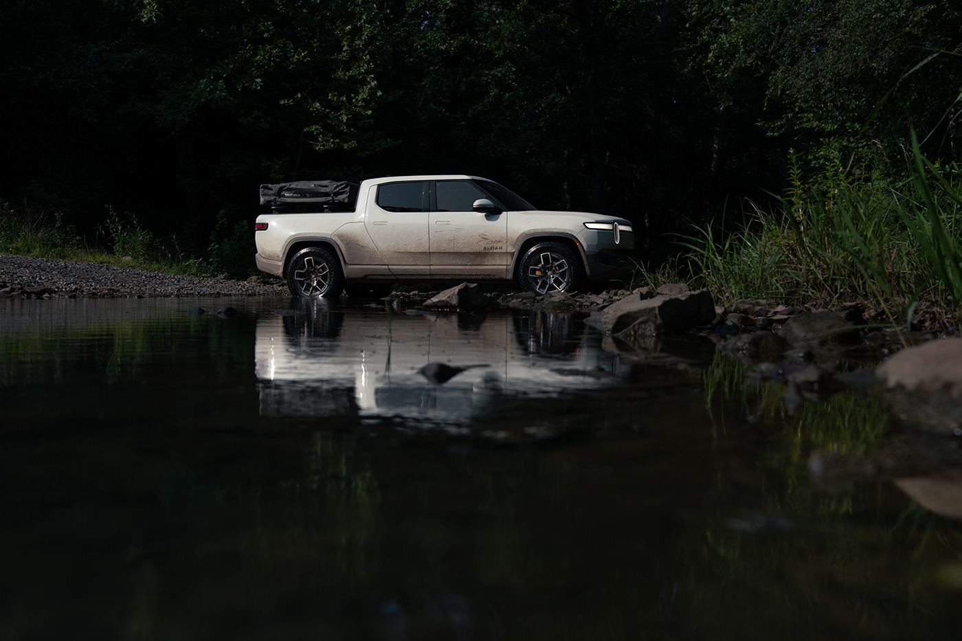 adventure automotive   colors electric forest Moody Outdoor Photography  Rivian Truck