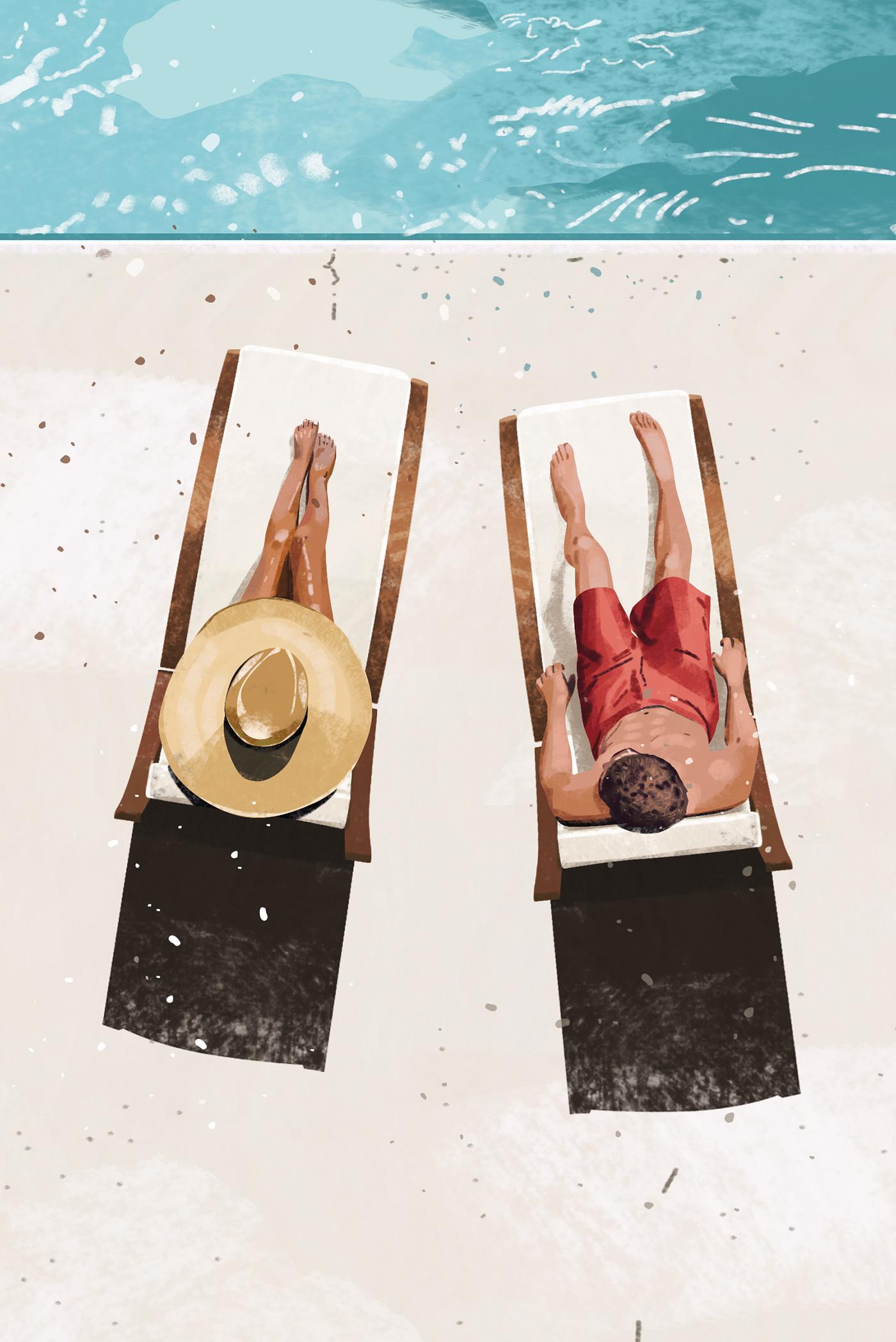 adobe art creative digitalart Drawing  editorial ILLUSTRATION  painting   Pool summer