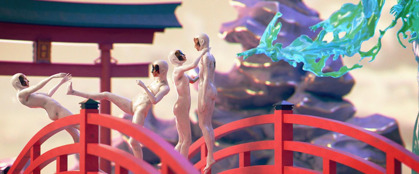 3D animation  Character design  modelling CGI dreamscape Landscape Nature redshift surrealism