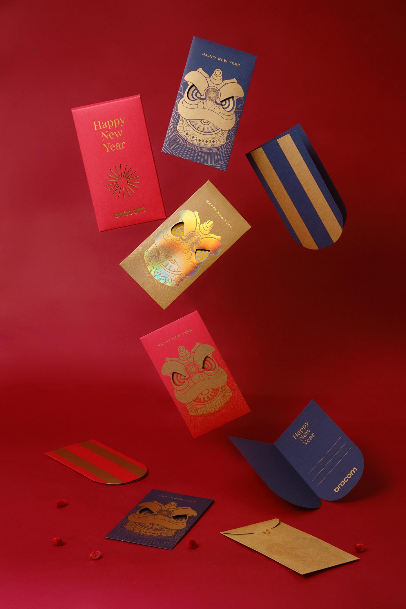 bracom bracom agency chinese new year envelope Lunar New Year Packaging Red Envelope unicorn vietnam red