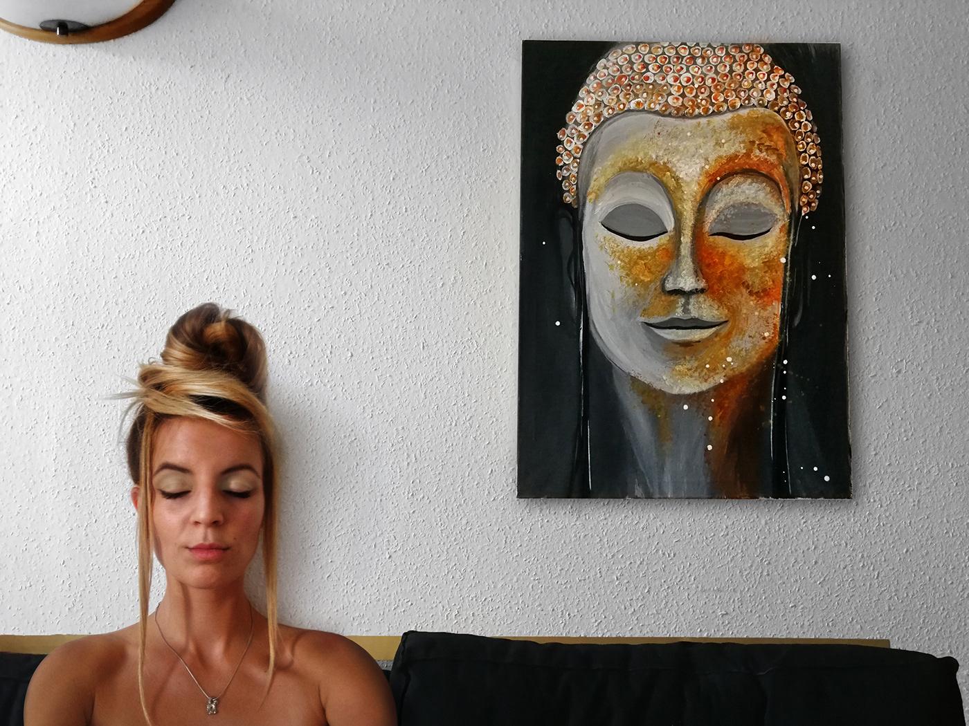 Image may contain: human face, wall and woman