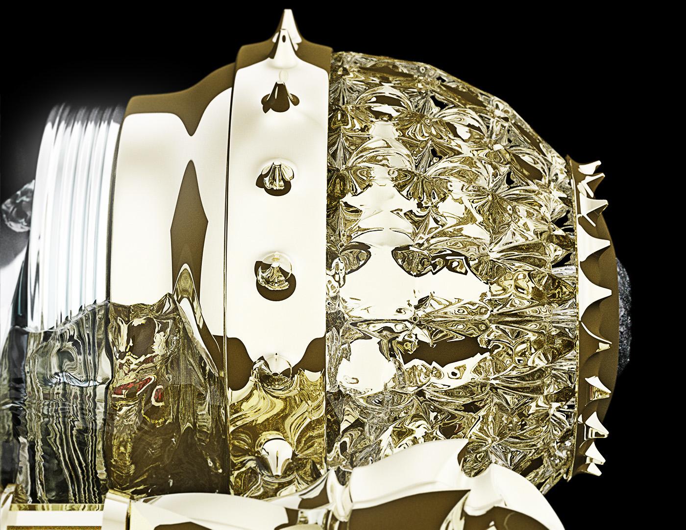 ivan venkov sculpture animal deer composition object digital Zbrush conceptual art gold golden cabinet glass egg Faberge